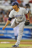 Pensacola Blue Wahoos pitcher J.C. Sulbaran #15 delivers a pitch during the Southern League All-Star Game  at Smokies Park on June 19, 2012 in Kodak, Tennessee.  The South Division defeated the North Division 6-2. (Tony Farlow/Four Seam Images).