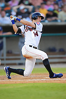 Tyler Colvin swings at a pitch at Smokies Park in Sevierville, TN May 21, 2009 (Photo by Tony Farlow/ Four Seam Images)