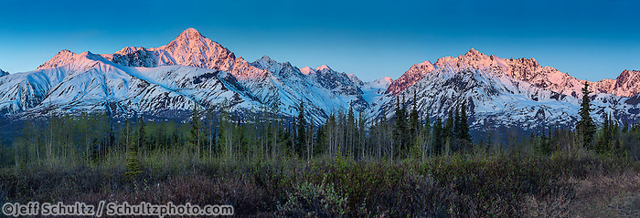 Spring landscape of sunrise alpenglow on snow-covered Chugach Mountains in the Glacier View Area of Matanuska Valley  Spring Southcentral, Alaska <br /> <br /> Photo by Jeff Schultz (C) 2016  ALL RIGHTS RESERVED