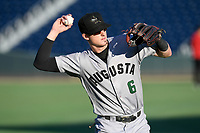 Shortstop Tyler Fitzgerald (6) of the Augusta GreenJackets warms up before a game against the Greenville Drive on Thursday, August 29, 2019, at Fluor Field at the West End in Greenville, South Carolina. Augusta won, 11-0. (Tom Priddy/Four Seam Images)