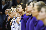 GRAND RAPIDS, MI - MARCH 18: Amherst College players stand at attention during the national anthem before the Division III Women's Basketball Championship held at Van Noord Arena on March 18, 2017 in Grand Rapids, Michigan. Amherst defeated 52-29 for the national title. (Photo by Brady Kenniston/NCAA Photos via Getty Images)