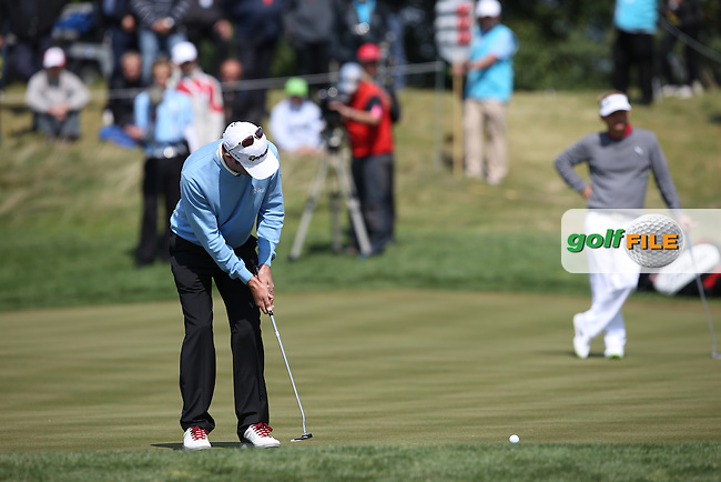 Bradley Dredge (WAL)  misses a birdie chance on the 5th during the Final Round of the D&D Real Czech Masters 2014 from the Albatross Golf Resort, Vysoky Ujezd, Prague. Picture:  David Lloyd / www.golffile.ie