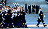 United States President Barack Obama (2L) his wife Michelle Obama (L), Vice President Joe Biden (2R) and his wife Dr Jill Biden (R) and US Army Major General Michael J. Linnington (C) during the Presidential review of the troops on the east side of the United States Capitol following Obama's Inaugural address and ceremonially swearing in for a second term as the 44th President of the United States in Washington, DC, USA, 21 January 2013. Obama defeated Republican candidate Mitt Romney on Election Day 06 November 2012 to be re-elected for a second term..Credit: CJ Gunther / Pool via CNP