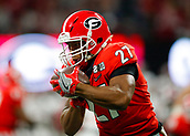 January 8th 2018, Atlanta, GA, USA; Georgia Bulldogs running back Nick Chubb (27) rushes during the College Football Playoff National Championship Game between the Alabama Crimson Tide and the Georgia Bulldogs on January 8, 2018 at Mercedes-Benz Stadium in Atlanta, GA.
