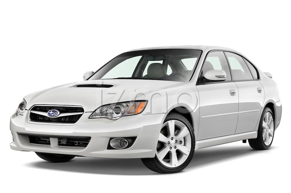 Low aggressive front three quarter view of a 2008 Subaru Legacy GT sedan.