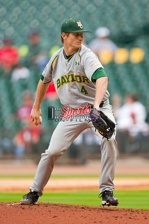 Starting pitcher Logan Verrett #4 of the Baylor Bears in action against the Houston Cougars at Minute Maid Park on March 4, 2011 in Houston, Texas.  Photo by Brian Westerholt / Four Seam Images