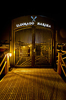 A night view of the gates to the marina at Hotel Eldorado on Okanagan Lake in Kelowna.