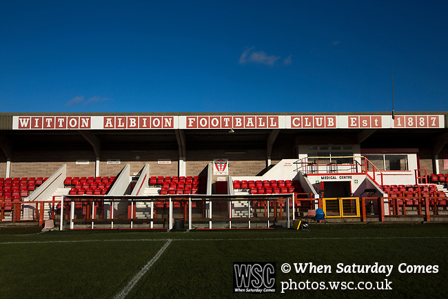 Witton Albion 1 Warrington Town 2, 26/12/2017. Wincham Park, Northern Premier League. The main stand at Wincham Park, home of Witton Albion, pictured before their Northern Premier League premier division fixture with Warrington Town. Formed in 1887, the home team have played at their current ground since 1989 having relocated from the Central Ground in Northwich. With both team chasing play-off spots, the visitors emerged with a 2-1 victory, the winner being scored by Tony Gray in second half injury time, watched by a crowd of 503. Photo by Colin McPherson.