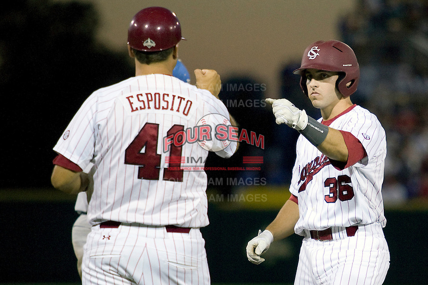 South Carolina's Brady Thomas in Game Two of the NCAA Division One Men's College World Series Finals on June 29th, 2010 at Johnny Rosenblatt Stadium in Omaha, Nebraska.  (Photo by Andrew Woolley / Four Seam Images)