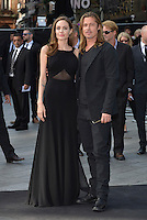 Angelina Jolie, Brad Pitt<br /> 'World War Z' world premiere, Empire cinema, Leicester Square, London, England 2nd June 2013 <br /> full length black dress suit goatee facial hair couple <br /> CAP/PL<br /> &copy;Phil Loftus/Capital Pictures /MediaPunch ***NORTH AND SOUTH AMERICAS ONLY***