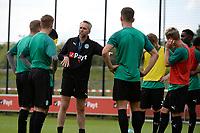 GRONINGEN - Voetbal, Eerste training FC Groningen, Corpus den Hoorn, seizoen 2019-2020, 22-06-2019, FC Groningen assistent-trainer Adrie Poldervaart  geeft uitleg
