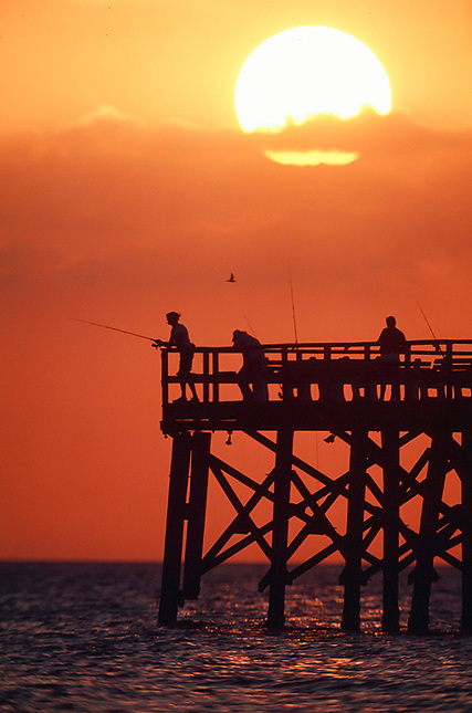 Sunset over fishing pier