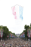 The Royal Air Force Aerobatic Team, the Red Arrows<br /> RAF centenary fly-past at Buckingham Palace, The Mall, London England on July 10, 2018.<br /> CAP/PL<br /> &copy;Phil Loftus/Capital Pictures