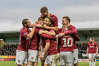 5th January 2020; Pirelli Stadium, Burton Upon Trent, Staffordshire, England; English FA Cup Football, Burton Albion versus Northampton Town; Sam Hoskins of Northampton Town celebrates with his team after scoring in the 70th minute 1-4  - Strictly Editorial Use Only. No use with unauthorized audio, video, data, fixture lists, club/league logos or 'live' services. Online in-match use limited to 120 images, no video emulation. No use in betting, games or single club/league/player publications