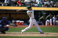 OAKLAND, CA - AUGUST 16:  Matt Chapman #26 of the Oakland Athletics bats against the Kansas City Royals during the game at the Oakland Coliseum on Wednesday, August 16, 2017 in Oakland, California. (Photo by Brad Mangin)