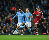 9th January 2018, Etihad Stadium, Manchester, England; Carabao Cup football, semi-final, 1st leg, Manchester City versus Bristol City; Bernardo Silva of Manchester City runs the ball into attack