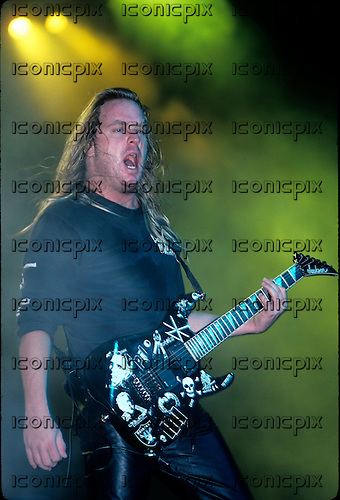 Slayer - gutiarist Jeff Hanneman - performing live on Clash of The Titans tour at the Starplex Amphitheater in Dallas Tx USA - May 16, 1991.  Photo credit: Gene Ambo/IconicPix