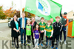 Moyvane NS Green Flag: Kerry footballer Colm Cooper & Barry John Keane raise the Green flag at Moyvane NS on Friday last . Also in the picture is Teacher Mary B. Curtin and the pupils committee of Caimhe Kearney, Rian Quinn, Diarmuid O'Connor, Patrick O'Connor, Mollie O'Riiordan, Kiegan Moloney & Shiona Mulvihill.