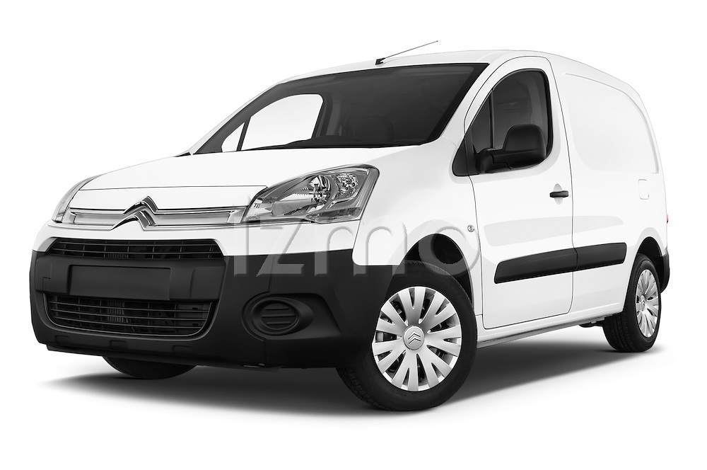 Stock pictures of low aggressive front three quarter view of a 2015 Citroen BERLINGO 1.6 VT 4 Door Car Van Low Aggressive