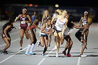 NWA Democrat-Gazette/ANDY SHUPE<br /> Arkansas' Kethlin Campbell (center) receives the baton Saturday, May 11, 2019, from Payton Chadwick in the during the SEC Outdoor Track and Field Championships at John McDonnell Field in Fayetteville. Visit nwadg.com/photos to see more photographs from the meet.