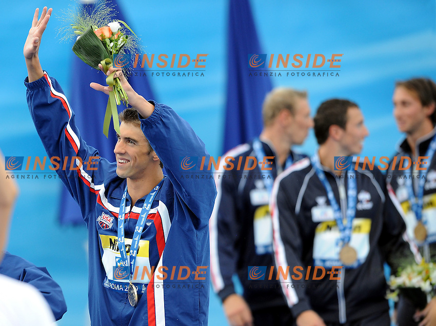 Roma 26th July 2009 - 13th Fina World Championships From 17th to 2nd August 2009....Swimming finals..Men's 4x100m freestyle relay..Michael Phelps (USA team)....photo: Roma2009.com/InsideFoto/SeaSee.com