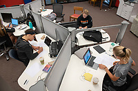 Occidental College students study for finals and write papers during finals week in the Academic Commons/Mary Norton Clapp Library, Wednesday, May 8, 2019.<br /> (Photo by Marc Campos, Occidental College Photographer)