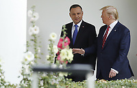 US President Donald J. Trump and Polish President Andrzej Duda (L) walk along the Colonnade at the White House in Washington, DC, USA, 12 June 2019. During the visit President Trump and President Duda will participate in a signing ceremony to increase military to military cooperation including the purchase of F-35 fighter jets and an increased US troop presence in Poland. <br /> Credit: Shawn Thew / Pool via CNP/AdMedia
