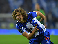 27th October 2019; Dragao Stadium, Porto, Portugal; Portuguese Championship 2019/2020, FC Porto versus Famalicao; Fabio Silva of FC Porto celebrates as he shoots and scores for 3-0 in the 88th minute