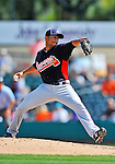 13 March 2012: Atlanta Braves pitcher Anthony Varvaro on the mound during a Spring Training game against the Miami Marlins at Roger Dean Stadium in Jupiter, Florida. The two teams battled to a 2-2 tie playing 10 innings of Grapefruit League action. Mandatory Credit: Ed Wolfstein Photo