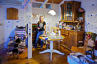 Suzi DuAmarell photographed in her home as she is painting. Tango the dog is jumping on the chair  Suzi DuAmarell photographed in her home as she is painting. Tango the dog is jumping on the chair  Suzi DuAmarell photographed in her home as she is painting. Tango the dog is jumping on the chair