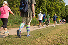 August 19, 2017; On day 6, pilgrims make the 15.6 mile trek on foot on the ND Trail from Lafayette to Tippecanoe Battlefield Park in Battle Ground, Indiana. As part of the University's 175th anniversary celebration, the Notre Dame Trail will commemorate Father Sorin and the Holy Cross Brothers' journey. A small group of pilgrims will make the entire 300+ mile journey from Vincennes to Notre Dame over  two weeks. (Photo by Barbara Johnston/University of Notre Dame)