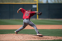 Arizona Diamondbacks relief pitcher Anfernee Benitez (14) delivers a pitch to the plate during a Spring Training game against Meiji University at Salt River Fields at Talking Stick on March 12, 2018 in Scottsdale, Arizona. (Zachary Lucy/Four Seam Images)