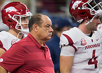 Hawgs Illustrated/Ben Goff<br /> John Chavis, Arkansas defensive coordinator, before the game vs Texas A&M Saturday, Sept. 29, 2018, during the Southwest Classic at AT&T Stadium in Arlington, Texas.