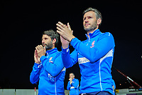 Lincoln City manager Danny Cowley, left, and Lincoln City's assistant manager Nicky Cowley applaud the fans at the final whistle<br /> <br /> Photographer Chris Vaughan/CameraSport<br /> <br /> The EFL Sky Bet League Two Play Off Second Leg - Exeter City v Lincoln City - Thursday 17th May 2018 - St James Park - Exeter<br /> <br /> World Copyright &copy; 2018 CameraSport. All rights reserved. 43 Linden Ave. Countesthorpe. Leicester. England. LE8 5PG - Tel: +44 (0) 116 277 4147 - admin@camerasport.com - www.camerasport.com