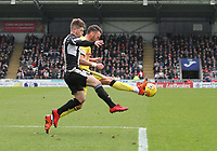 Lee Miller gets a foot to the ball before Cammy Smith in the St Mirren v Livingston Scottish Professional Football League Ladbrokes Championship match played at the Paisley 2021 Stadium, Paisley on 14.4.18.