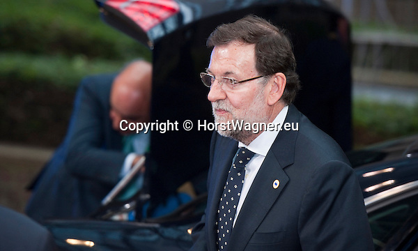 Brussels-Belgium - May 27, 2014 -- European Council, EU-summit, meeting of Heads of State / Government for an informal dinner to evaluate and to conclude the results of the European elections; here, arrival of Mariano RAJOY BREY, Prime Minister of Spain -- Photo: © HorstWagner.eu