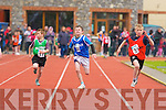 Eoghan O'Connor Tarbert shows great technique to win the Boys 100m u10 semi final during the Kerry Community Games finals on Sunday ahead of Eoin Hassett Killorglin and Shane Griffin Ballyduff