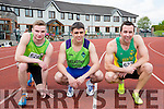 Sprinters l-r: Micheal O'Shea Riocht, Dion Marcus Killarney Valley and Jer O'Donoghue Riocht at the Kerry Senior Track and Field Championships in Castleisland on sunday