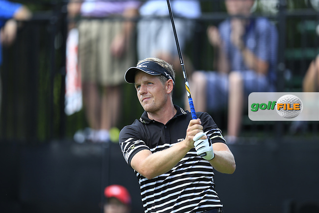 Luke Donald (ENG) tees off the 10th tee during Thursday's Round 1 of the 2013 Bridgestone Invitational WGC tournament held at the Firestone Country Club, Akron, Ohio. 1st August 2013.<br /> Picture: Eoin Clarke www.golffile.ie