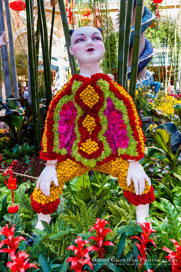 United States, Nevada, Las Vegas. Inside Bellagio's garden with an asiatic theme.