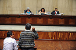 Witness Juan Perez, 68, swears before giving testimony during the second day of trial of former Guatemalan dictator, Efrain Rios Montt in the Supreme Court of Justice Guatemala CIty March 20, 2013.