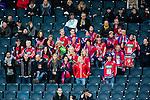 Solna 2014-03-15 Bandy SM-final Damer Kareby IS - AIK  :  <br /> Kareby supportrar p&aring; l&auml;ktaren under matchen<br /> (Foto: Kenta J&ouml;nsson) Nyckelord:  SM SM-final final dam damer Kareby AIK supporter fans publik supporters