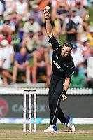 New Zealand's Tim Southee bowling. New Zealand Blackcaps v England. One Day International Cricket. Seddon Park, Hamilton, New Zealand on Sunday 25 February 2018.<br /> <br /> Copyright photo: &copy; Bruce Lim / www.photosport.nz