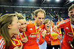 Leipzig, Germany, February 08: Players of The Netherlands celebrate after winning the FIH Indoor Hockey World Cup at the FIH Indoor Hockey World Cup on February 8, 2015 at the Arena Leipzig in Leipzig, Germany. (Photo by Dirk Markgraf / www.265-images.com) *** Local caption ***