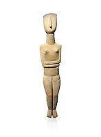 Female Cycladic Canonical type, Spedos variety female figurine statuette. Early Cycladic Period II from Syros phase (2800-2300 BC). Museum of Cycladic Art Athens,  Against white.<br /> <br /> The cycladic figurine has a band etched high on its forehead and a large area on the back of the head of spiralling curls. The surface has probably been protected by paint and the outline of the left eye paint is still detectable as a greyish tinge. It can be assumed that both hair and eyes were painted. Canonical type, Spedos variety