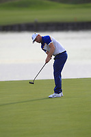 Alex Noren (Team Europe) hits his putt on the 18th green during the Sunday Singles of the Ryder Cup, Le Golf National, Ile-de-France, France. 30/09/2018.<br /> Picture Thos Caffrey / Golffile.ie<br /> <br /> All photo usage must carry mandatory copyright credit (© Golffile | Thos Caffrey)