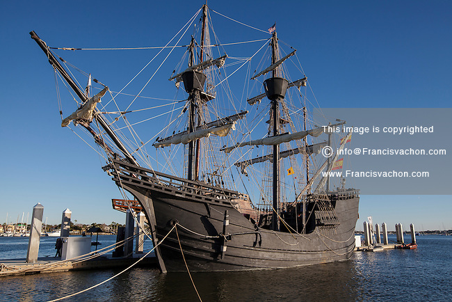 Nao Victoria replica ship is pictured in St. Augustine, Florida Thursday January 16, 2014.