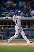 Taylor Motter (11) of the Durham Bulls follows through on his swing against the Charlotte Knights at BB&T BallPark on April 14, 2016 in Charlotte, North Carolina.  The Bulls defeated the Knights 2-0.  (Brian Westerholt/Four Seam Images)