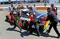 Jun. 21, 2009; Sonoma, CA, USA; The car of NASCAR Sprint Cup Series driver Jeff Gordon is pushed out to the grid prior to the SaveMart 350 at Infineon Raceway. Mandatory Credit: Mark J. Rebilas-