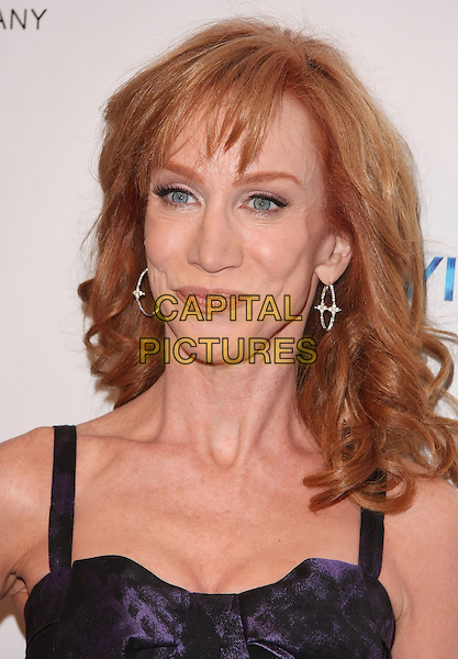 KATHY GRIFFIN.Relativity Weinstein Company 68th Annual Golden Globe Awards After Party Presented by Marie Claire held at the Beverly Hilton, Beverly Hills, California, USA..January 16th, 2011.headshot portrait earrings silver black purple print  .CAP/ADM/TB.©Tommaso Boddi/AdMedia/Capital Pictures.